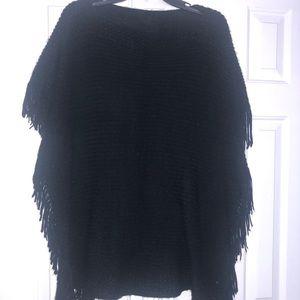 Black Fringe Poncho